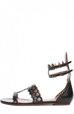 Кожаные сандалии с ремешками на щиколотке Alaia. Цвет: черный