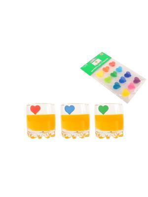 Маркер для стаканов Сердечки Elan Gallery. Цвет: синий, зеленый, салатовый, фиолетовый, красный, оранжевый, желтый