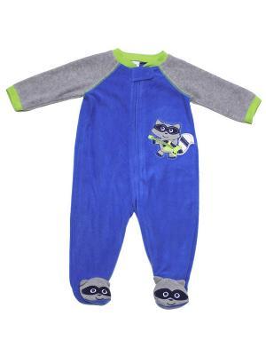 Комбинезон для сна флисовый Енотик Little Me. Цвет: синий, серый