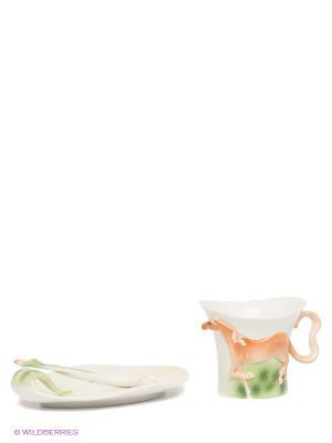Чайная пара Лошадь Pavone. Цвет: молочный, зеленый, коричневый