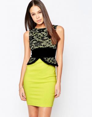 Vesper Платье-футляр с кружевным топом и баской Ronnie. Цвет: зеленый