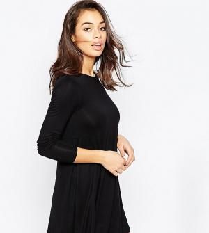 ASOS Petite Свободное платье с длинными рукавами. Цвет: черный