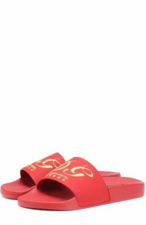 Кожаные шлепанцы с вышивкой Dolce & Gabbana. Цвет: красный