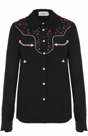 Блуза прямого кроя с контрастной отделкой Coach. Цвет: черный