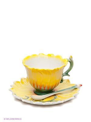 Чайная пара Подсолнух Pavone. Цвет: желтый, зеленый