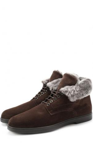 Высокие замшевые ботинки на шнуровке с внутренней меховой отделкой Santoni. Цвет: темно-коричневый