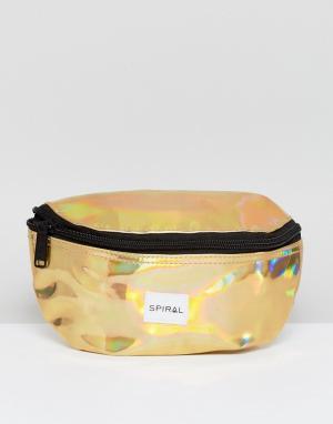Spiral Золотистая сумка-кошелек на пояс. Цвет: золотой