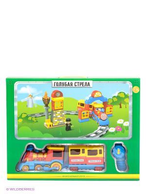 Железная дорога Веселый паровозик Голубая стрела. Цвет: красный, желтый, синий