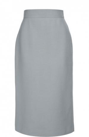 Юбка-карандаш с широким поясом и разрезом Valentino. Цвет: голубой