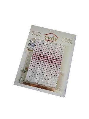 Шторка для ванной PROFFI HOME Круги, 180х200 см+подарок. Цвет: белый, фиолетовый, розовый