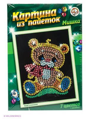 Картина из пайеток Мишка Десятое королевство. Цвет: зеленый