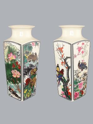 Ваза Птицы в цветах Elan Gallery. Цвет: бежевый, розовый, синий, зеленый