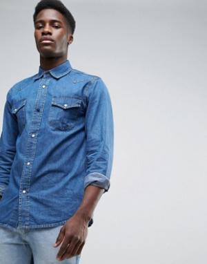 Waven Синяя джинсовая рубашка в стиле вестерн. Цвет: синий