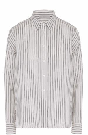 Шелковая блуза прямого кроя в полоску Vince. Цвет: белый