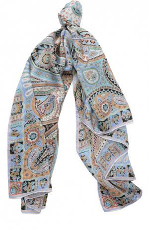 Шелковый платок с принтом Michele Binda. Цвет: светло-фиолетовый