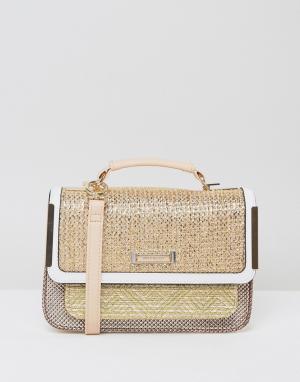 River Island Небольшая сумка сэтчел. Цвет: бежевый