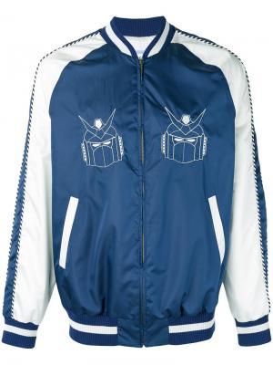 Robots print bomber jacket Lc23. Цвет: синий