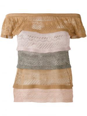 Многослойная полупрозрачная блузка Jucca. Цвет: многоцветный