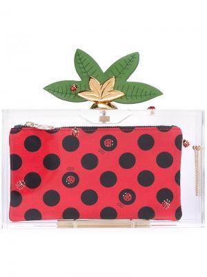 Декорированный клатч Lucky Pandora Charlotte Olympia. Цвет: красный