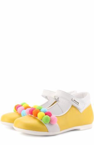 Кожаные туфли с застежками велькро и помпонами Missouri. Цвет: желтый