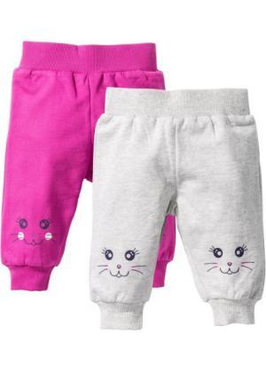 Для малышей: трикотажные брюки из биохлопка (2 шт.) (натуральный меланж/фуксия) bonprix. Цвет: натуральный меланж/фуксия