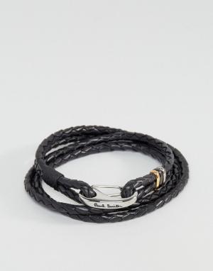 Paul Smith Кожаный черный браслет. Цвет: черный