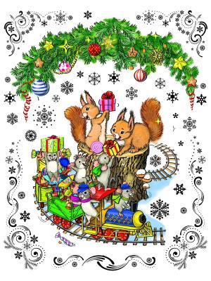 Украшение новогоднее оконное  Новогодний паровозик и мышата Magic Time. Цвет: серебристый, красный, голубой
