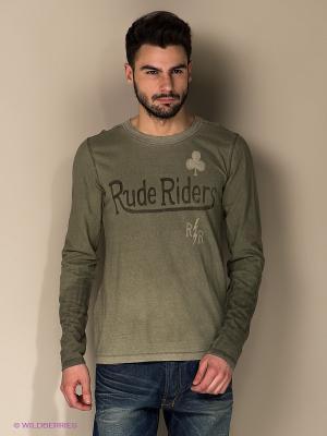 Лонгслив Rude Riders. Цвет: серо-зеленый