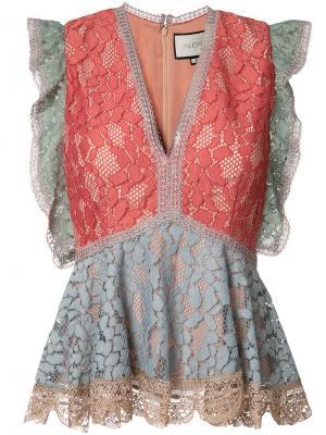 Кружевная блузка с баской Alexis. Цвет: розовый и фиолетовый
