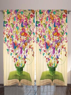 Фотошторы Лиловые и жёлтые цветы, 290*265 см Magic Lady. Цвет: бежевый