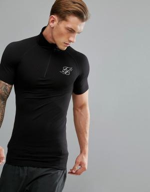 SikSilk Черная компрессионная футболка с молнией до груди. Цвет: черный