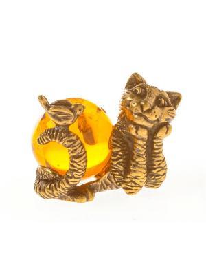 Фигура Кот с птичкой Aztek. Цвет: желтый, коричневый, светло-оранжевый