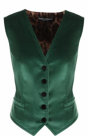 Бархатный жилет с шелковой принтованной спинкой Dolce & Gabbana. Цвет: зеленый