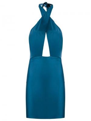 Платье с панельным дизайном Adriana Degreas. Цвет: синий