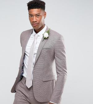 ASOS Приталенный пиджак в ломаную клетку с добавлением шерсти TALL Wed. Цвет: розовый