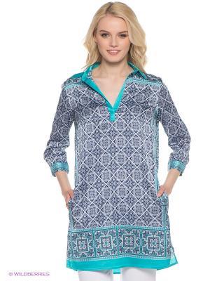 Платье Oodji. Цвет: бирюзовый, белый, голубой