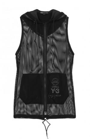 Удлиненный прозрачный жилет на молнии с капюшоном Y-3. Цвет: черный