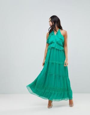 Adelyn Rae Платье макси с оборками. Цвет: зеленый