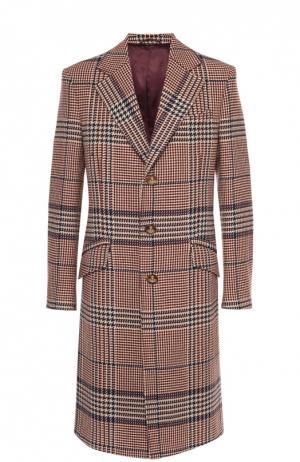 Шерстяное однобортное пальто в клетку Prince of Wales Vivienne Westwood. Цвет: коричневый