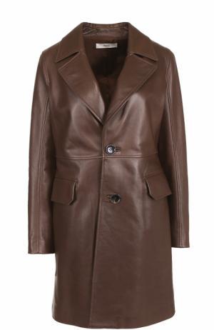 Кожаное укороченное пальто с широкими лацканами Bally. Цвет: коричневый