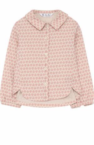 Хлопковая блуза с принтом Loro Piana. Цвет: розовый