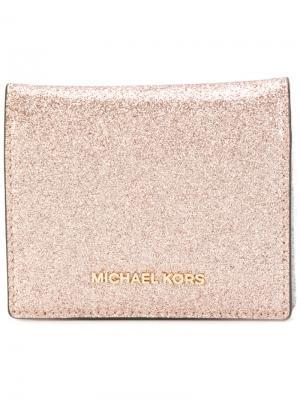 Визитница с блестками Michael Kors. Цвет: розовый и фиолетовый