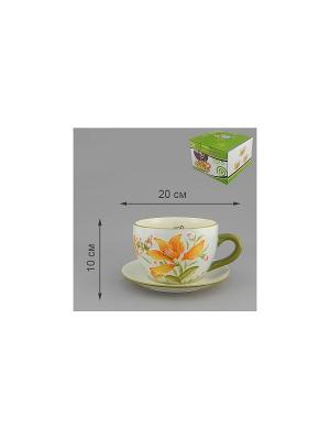 Горшок для цветов с поддоном РАССВЕТНЫЙ ВИД FLO GARDENS. Цвет: белый, зеленый