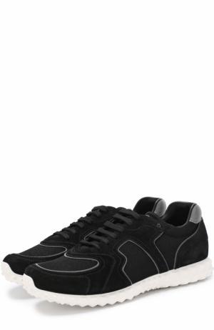 Комбинированные кроссовки  Garavani Soul AM на шнуровке Valentino. Цвет: черный