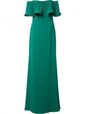 Длинное платье с открытыми плечами Badgley Mischka. Цвет: зелёный