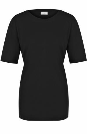 Хлопковая футболка свободного кроя Dries Van Noten. Цвет: черный