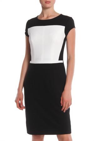 Приталенное платье для деловой встречи Apanage. Цвет: черный, белый