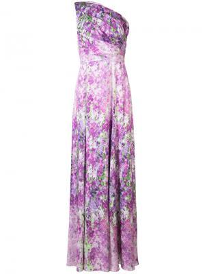 Вечернее платье на одно плечо с узором Badgley Mischka. Цвет: розовый и фиолетовый