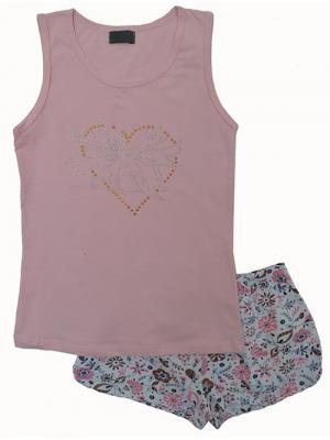 Пижама RobyKris. Цвет: коричневый, розовый, белый