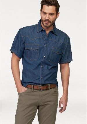 Джинсовая рубашка Arizona. Цвет: синий варенка, синий потертый